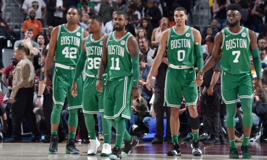 CLEVELAND, OH - OCTOBER 17: Al Horford #42, Marcus Smart #36, Kyrie Irving #11, Jayson Tatum #0 and Jaylen Brown #7 of the Boston Celtics during the game against the Cleveland Cavaliers on October 17, 2017 at Quicken Loans Arena in Cleveland, Ohio. NOTE TO USER: User expressly acknowledges and agrees that, by downloading and or using this Photograph, user is consenting to the terms and conditions of the Getty Images License Agreement. Mandatory Copyright Notice: Copyright 2017 NBAE (Photo by David Liam Kyle/NBAE via Getty Images)