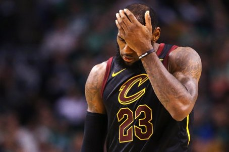 BOSTON, MA - MAY 27: LeBron James #23 of the Cleveland Cavaliers looks on during Game Seven of the 2018 NBA Eastern Conference Finals against the Boston Celtics at TD Garden on May 27, 2018 in Boston, Massachusetts. (Photo by Maddie Meyer/Getty Images)